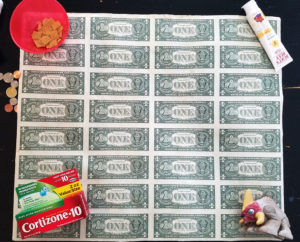 $1 bill uncut sheet - back