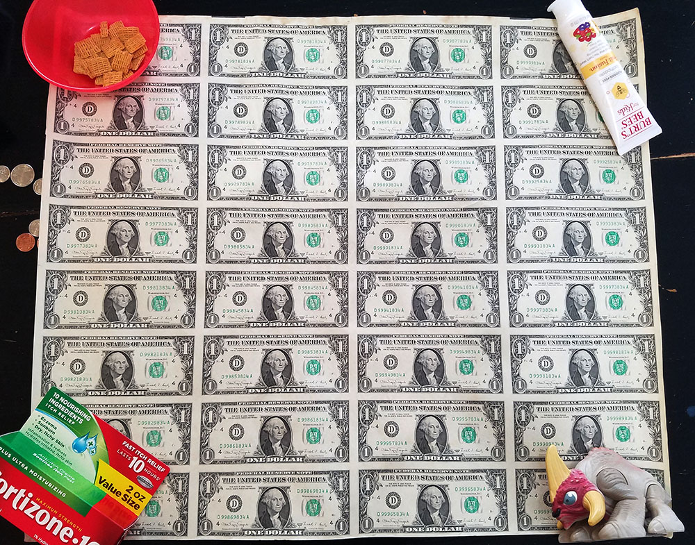 $1 bill uncut sheet