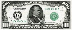 $1,000 US dollar bill
