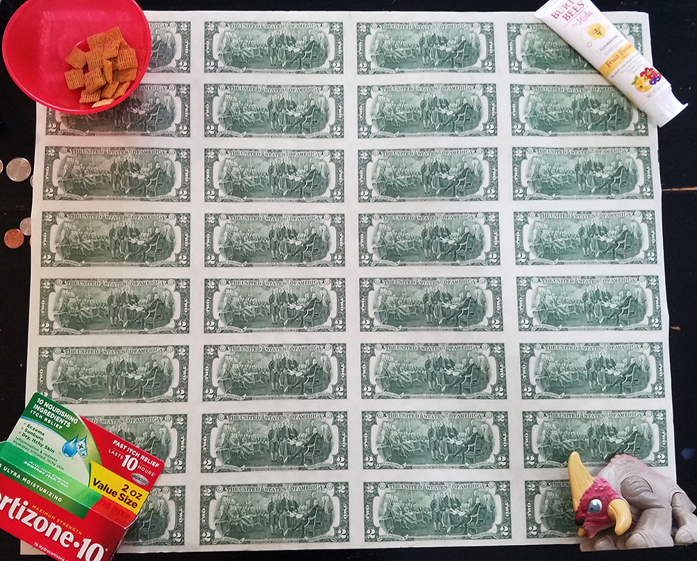 $2 bill uncut sheet - back