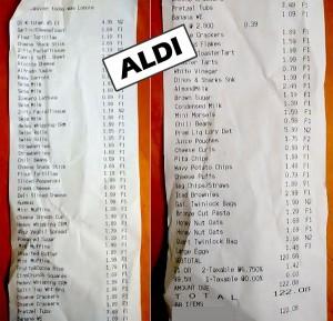 aldi receipt groceries