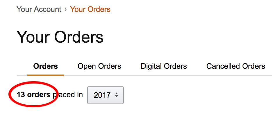 amazon orders 2017