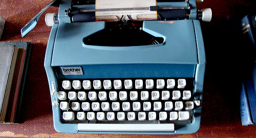 antique blue typewriter