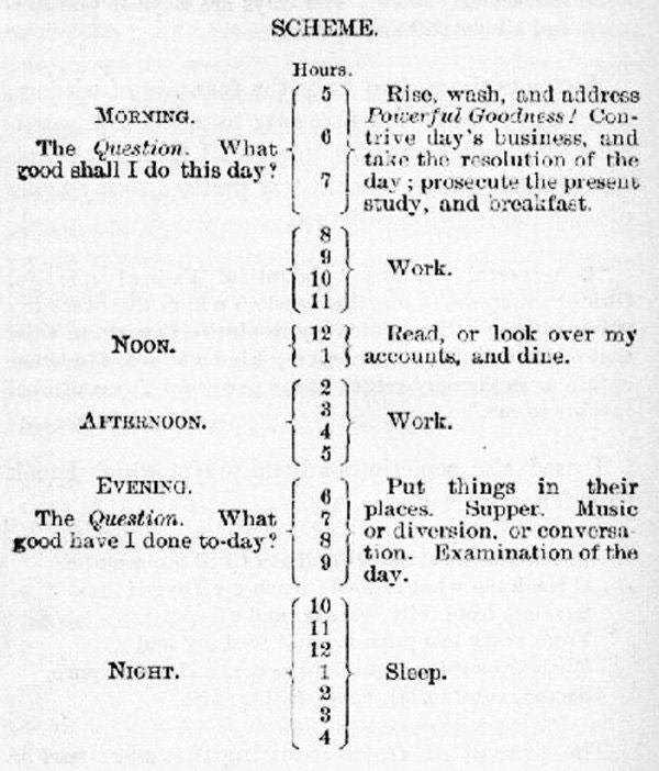 benjamin franklin schedule