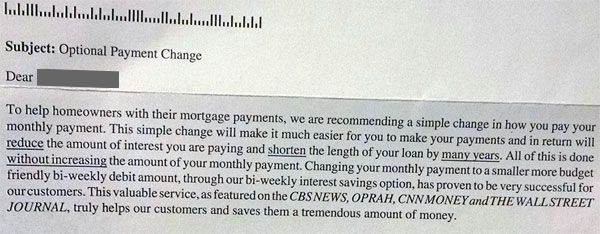 bi weekly mortgage payments