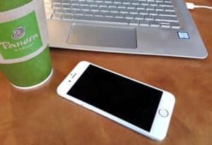 phone coffee laptop