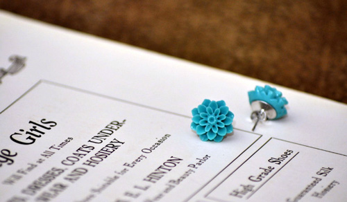 blue flower earings