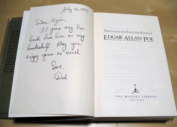 book inscription poe