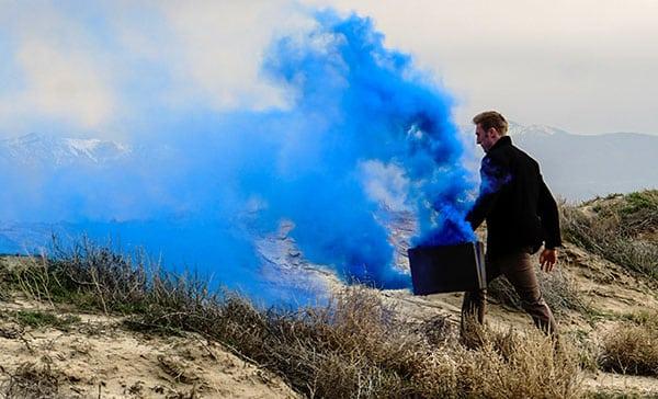 briefcase blue smoke