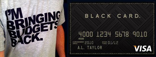 bringing budgets back t-shirt and visa black card