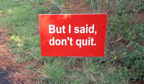 but i said don't quit