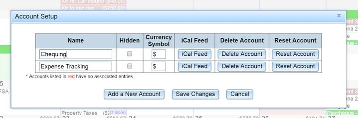 calendarbudget account setup screen