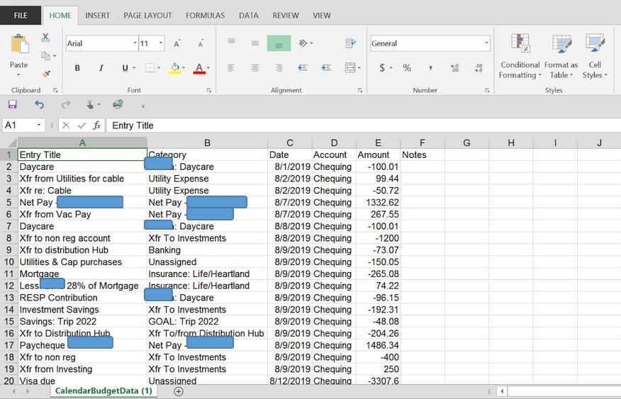 calendarbudget csv file