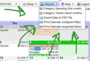 calendarbudget reports menu