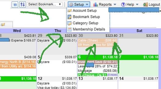 calendarbudget setup menu