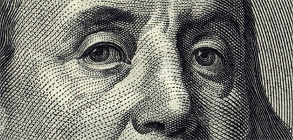 ben franklin close up $100 bill