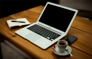 coffee laptop notepad