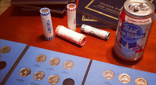 coin collecting rolls and beer