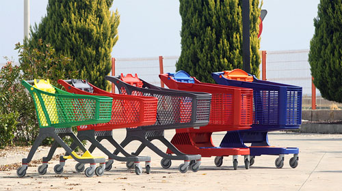 colorful grocery carts