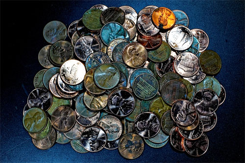 colorful toned pennies