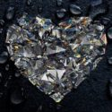 a glittery diamond cut into the shape of a heart