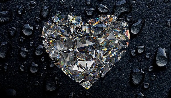 a glittery diamond cut into the shape of a heart