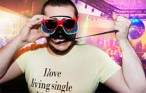 random disco sunglasses man