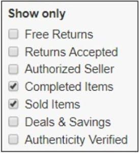 ebay filtering