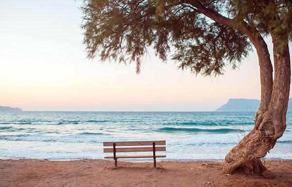 empty bench beach