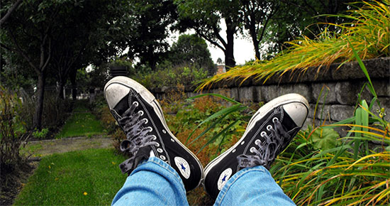 feet up grass