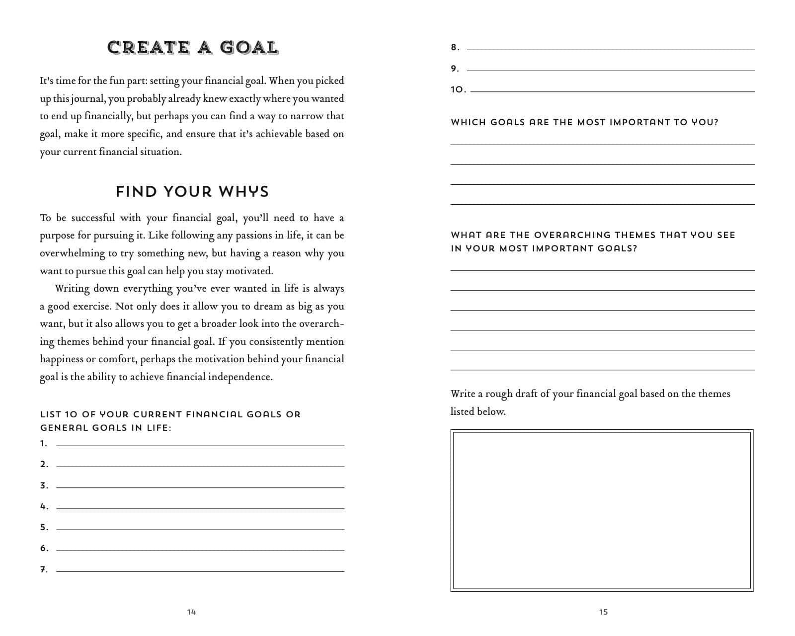 financial journal - create a goal
