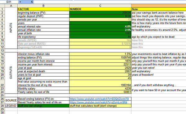 financial life plan sheet