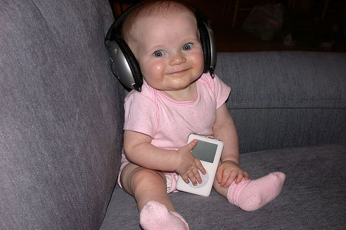 funny baby ipod headphones