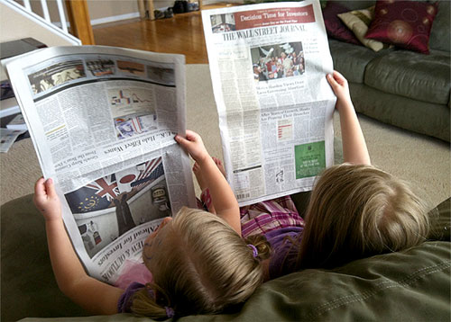girls reading wall street journal