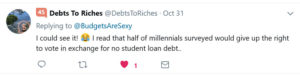 give up voting pay debt