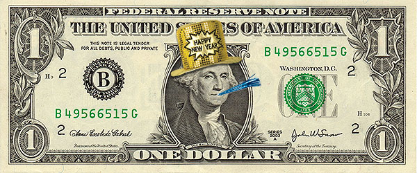 happy new year dollar bill