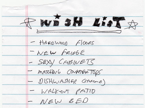 home wish list uprades