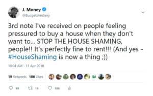 house shaming tweet