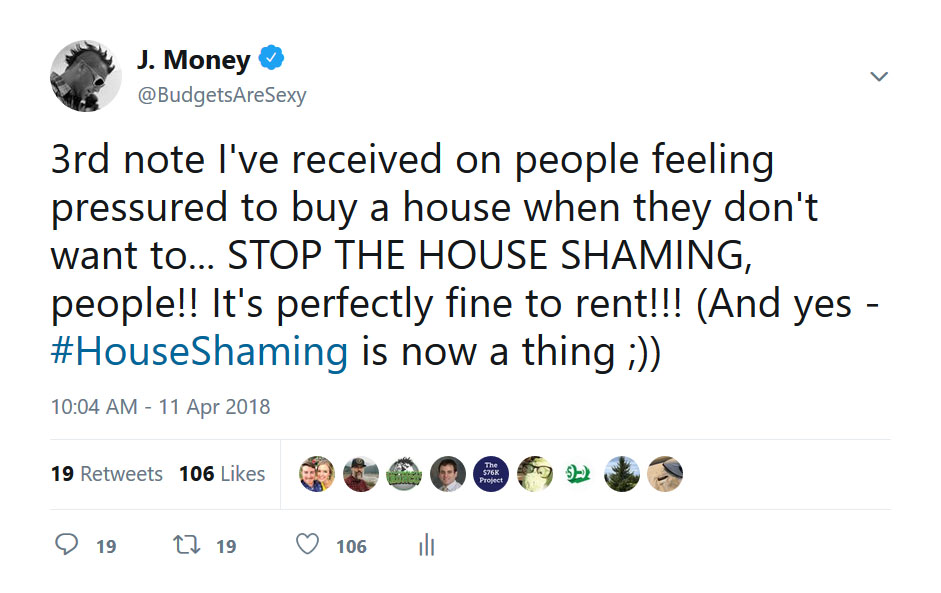 house shaming tweet