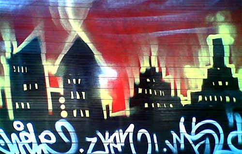 houses on fire graffiti