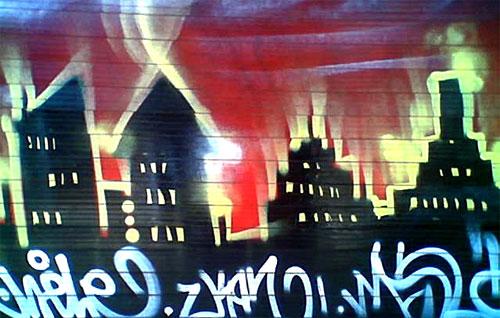 houses on fire graffiti