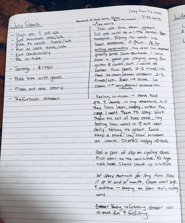 july goals - reflection