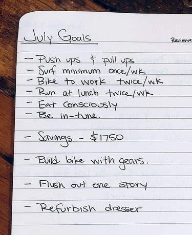july goals list