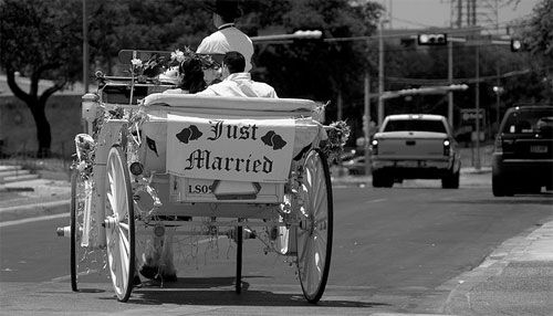 just married horse & buggy