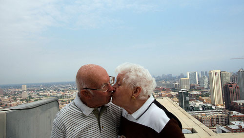 kissing grandparents