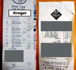 kroger sams club receipt