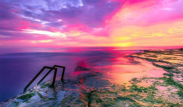 ladder sunset