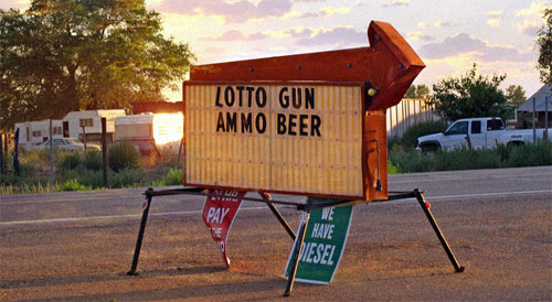 lotto gun ammo beer sign