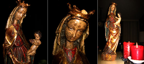 madonna statue collage