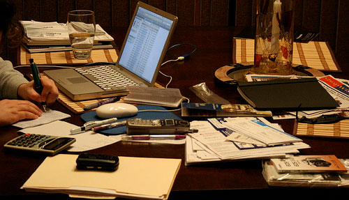 messy desk - taxes